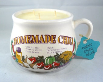 Unscented Soy Candle Hand-Poured into Vintage Homemade Chili Mug