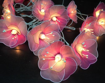 Fairy Lights - 20 White- Pink Tone Flower String Lights Fairy Lights Wedding Party Floral Home ...