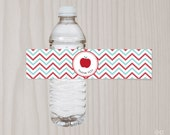 Teacher Appreciation Water Bottle Labels, Printable Drink Thank You Label, Retirement Party, School Staff Luncheon, Apple, Red Aqua Chevron