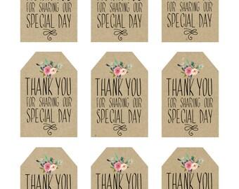 printable wedding favor tags, thank you printable tags, digital thank you tags, rustic thank you tags, rustic wedding tags, you print