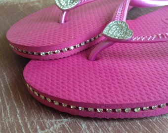 Havaianas Slim Sandals Flip Flop with Crystals & Piercing, Size 9
