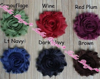 "6 Piece Lt Navy 2.5"" Shabby Flower"