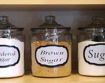 Set of four kitchen jar vinyl labels.