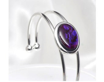 Violet Purple Paua Shell Cuff Bracelet, Paua Bracelet, Cabochon, Silver Cuff Bracelet, New Zealand Paua, One Size