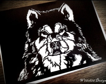 Kaito - Beautiful Alaskan Malamute Dog Canis Lupus Familiaris Gothic Papercut Template for Personal Use Paper Cut Cutting