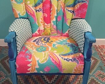 This chair is sold- however we can collaborate on a custom-Beautiful, colorful, Boho Spirit Chair of your own !