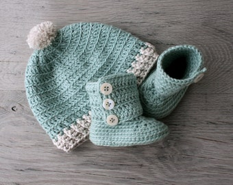 Pima Cotton Crochet Baby Set, Boots and PomPom Hat in Mint with Fabric Soles, Baby Girl, Size 0-3 months,Ready to Ship