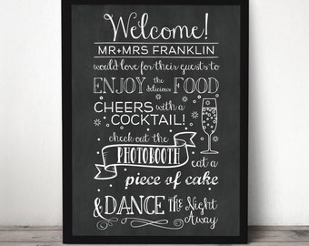 Custom Chalkboard Wedding Reception Welcome Sign - Wedding Welcome Sign - Chalkboard Welcome Sign - Wedding Reception