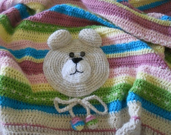 Wool cover for infant or baby girl with Teddy.