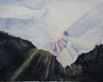 Original Watercolor Painting. Giclee Print. Sunburst, Light, Clouds. 9x12