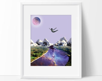 Art print - Falling in love - Surreal collage art featuring universe and moon - Love poster