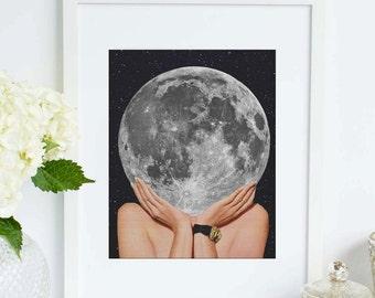 Moon art print - La Luna art poster - Surreal collage art of Full moon- Space and stars artwork illustration