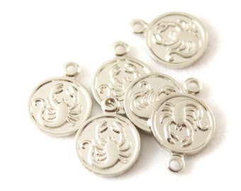 12x Silver Plated Scorpio Charms - M029-A