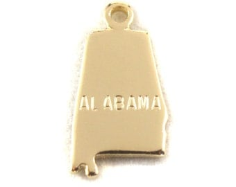 2x Gold Plated Engraved Alabama State Charms - M114-AL