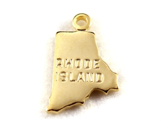 2x Gold Plated Engraved Rhode Island State Charms - M114-RI