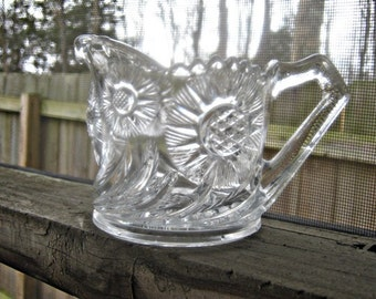 REDUCED.....Vintage Pressed Glass Creamer In Clear Glass