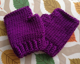 Purple passion gloves, fingerless mitts, hand knit, texting gloves, knit gloves, hand warmers.
