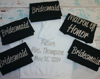 7 Bridesmaid Bridal Party Hoodies Zip Up Jackets. Bride Hoodie. Sweatshirt. Custom Bridal Party Hoodies. Bridal Shower. Bachelorette Party.