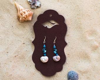 Shell & Bead Dangle Earrings
