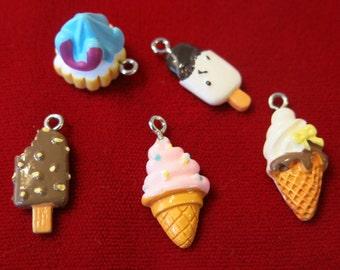 "5pc ""ice cream"" resin charms - lightweight (BC505)"