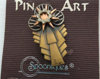Vintage Pin Art Spoontiques Abstract Brooch/Pin on Original Card