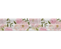"5/8"" Romantic Floral Fold Over Elastic, FOE, Print, Pattern"
