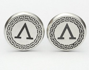 Oxidised Sterling Silver Spartan Cuff-Links