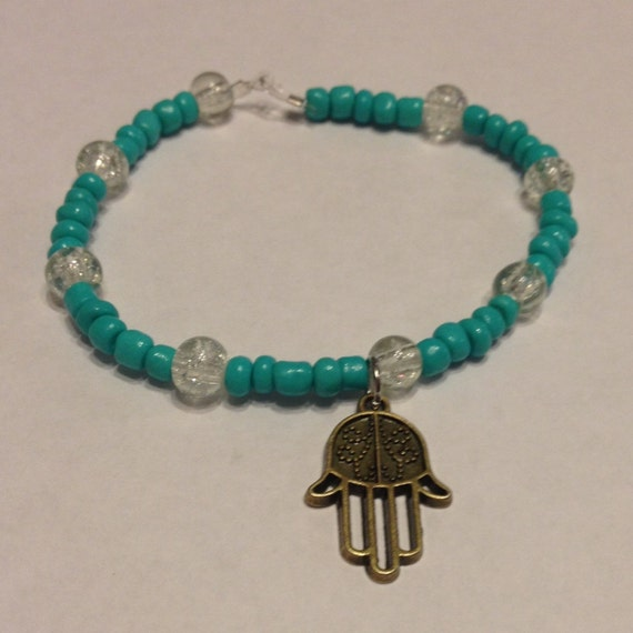 turquoise beaded stretch cord bracelet