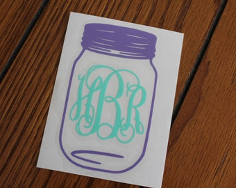 Monogram Mason Jar Car Decal