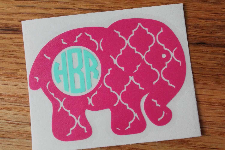 Quatrefoil Elephant Monogram Car Decal From MuggleMadeCreations On - Elephant monogram car decal