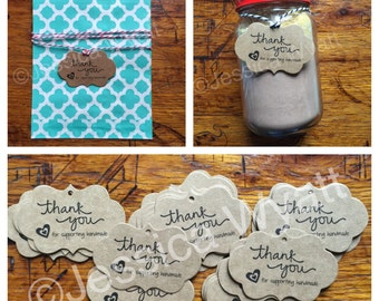 Thank You for Supporting Handmade hang tags/pricing tags - Set of 100