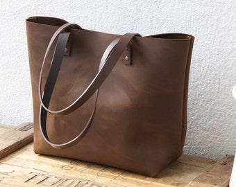 "Large Brown Leather tote bag. Sturdy Premium waxed leather. ""Cabas"". Handmade"
