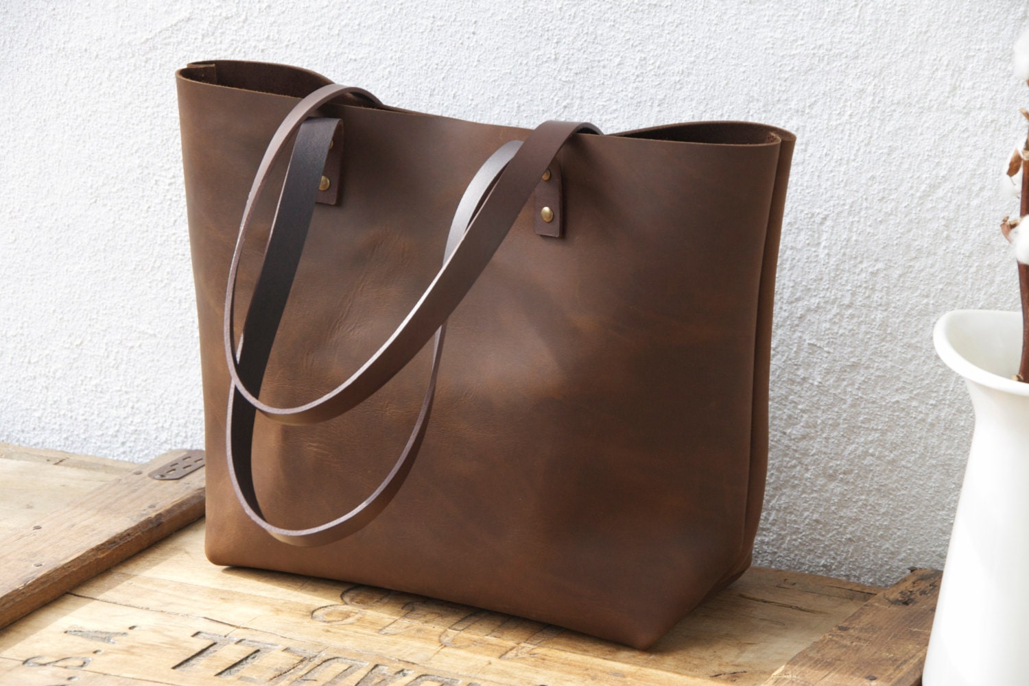 Large Brown Leather tote bag. Sturdy Premium waxed leather.