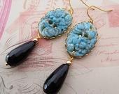Vintage cabochon earrings, turquoise earrings, vintage cameo earrings, black onyx drop earrings, carved earrings, gemstone jewelry