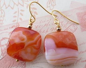 Agate earrings, carnelian earrings, dangle earrings, orange stone earrings, square earrings, italian jewelry, gemstone jewelry, gift for her