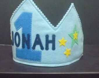 Personalized Boys Birthday crown, felt crown, any age Felt Birthday crown, blue crown, boys Birthday cake smash crown, boys dress up crown