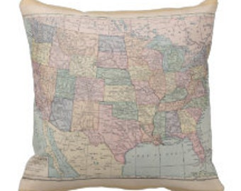 US Map Pillow - 1913 map of United States Throw pillow , travel decor, Vintage Maps, unique, pastel