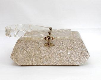 1950s Lucite Purse by Florida Handbags/ Retro Sparkled Silver White Gold
