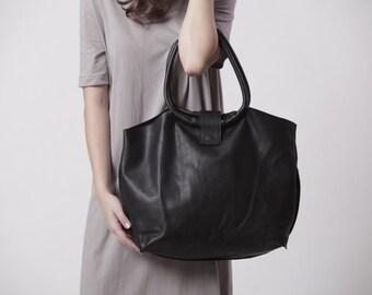 Black Leather Bag, Soft Leather Tote Bag, Shoulder Bag, Womens Handbag, Everyday Bag, Gift For Her, Office Bag, Sac Bag - Nina Bag