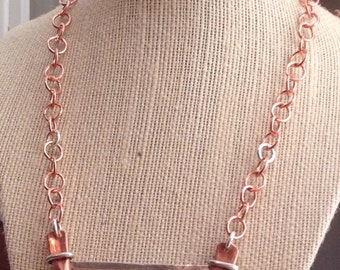 Necklace Industrial Copper Pipe and Sterling Silver Wire