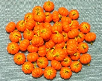 20 Miniature Pumpkins Clay Polymer Fimo Orange Round Vegetables Veggies Cute Little Tiny Small Dollhouse Supply Food Jewelry Beads Pumpkin