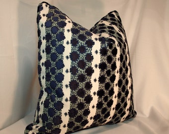 Both Sides ONE Duralee Soskin Sapphire Pillow Cover with Knife Edge or Self Cording