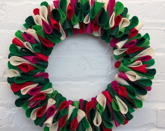 "Christmas Glitter Felt Petal Wreath  // 13"""