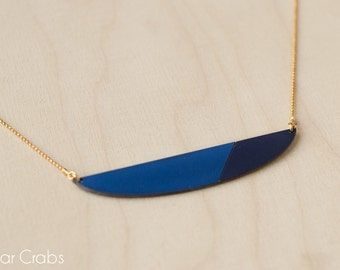 CLELIA // Geometric formica necklace, french jewelry, scandinavian style, color blue lagoon and night blue, 24k gold