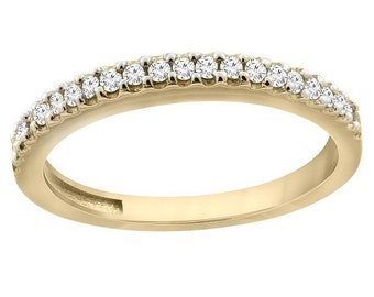 14K Yellow Gold Diamond Wedding Band Ring Half Eternity, sizes 5 - 10