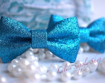 "Set of 2 - Glitter Bows - Hair Accesories - Hair Bows - 3"" Glitter bows Unfinished Glitter bows - Turquoise Glitter Bows, Bows for Headband"