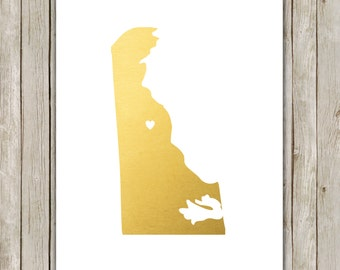 8x10 Delaware State Print, Geography Wall Art, Metallic Gold Art, Delaware Poster, Office Art Print, Home Decor, Instant Digital Download