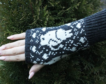 Fingerless pulse gloves Hippo alpaca and wool