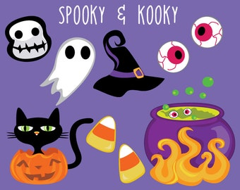 Halloween Clip Art Icons -  Ghost Clipart - Black Cat