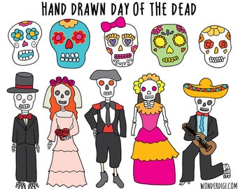 Day of the Dead clipart- Halloween clipart - Floral Skulls Clip Art  - Hand Drawn Clip Art